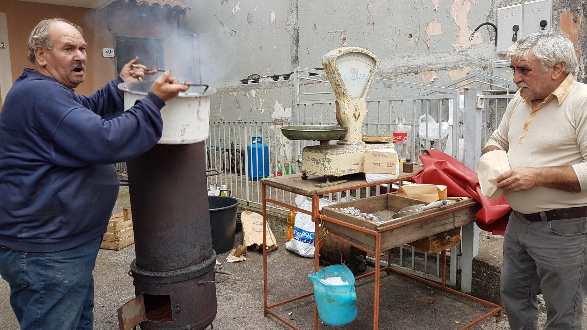 preparazione delle castagne arrosto